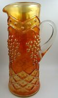 Antique Fenton Art Glass Lattice & Grape Water Pitcher Iridescent Marigold 1912