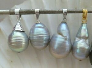 12-22 mm  SILVER NUCLEATED FRESHWATER PEARLS , 925 PENDANT  4 types to pick from