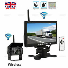 "Wireless Car Reversing Camera + 7"" LCD Monitor for Truck Bus Van Rear View Kit"