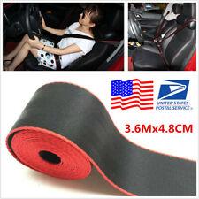 3.6Mx4.8CM Car Seat Belt Racing Harness Ribbon Auto Safety Webbing Black & Red