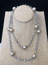 """KJL Pearl & Crystal Rope Necklace 34"""" - Original Packaging"""