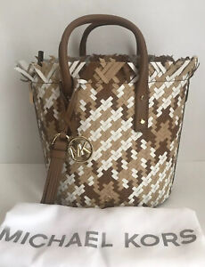 NWT !!Michael Kors Marley Woven Medium Bucket Shoulder Bag Luggage Multi