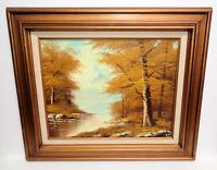 Vintage Oil Painting Canvas Landscape Lake River Mountain Woods Framed & Signed