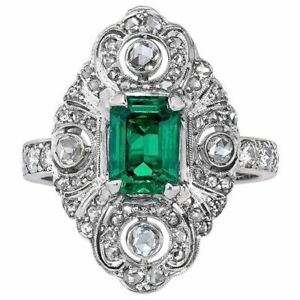 Green Emerald White Round CZ 925 Sterling Silver Vintage style Ring for Women