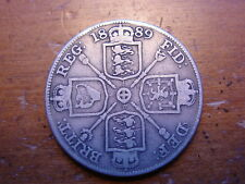 LOVELY BRITISH QUEEN VICTORIA SILVER DOUBLE FLORIN FOUR SHILLING  COIN 1889