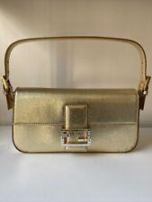 Fendi Gold Metallic Leather Baguett