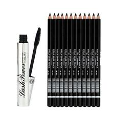 Natural Long Curl Mascara +12Pcs Eyeliner Eyeshadow Pencil For Kabuki Makeup