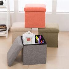Fabric Linen Folding Footstool Sofa Ottoman Footrest Seat Lounge Storage   l AA