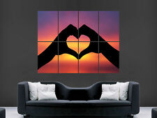 LOVE HEART  HANDS SILHOUETTE SUNSET   LARGE ART BIG HUGE GIANT POSTER PRINT