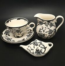 More details for vintage redwood collection teacup saucer tea bag tidy and milk jug black white