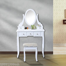 HOMCOM Contemporary Vanity Dressing Table Set Wooden w/ Mirror Stool 5 Drawers
