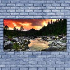 Acrylglasbilder Wandbilder Druck 140x70 See Steine Wald Natur