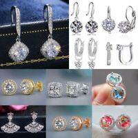Women Fashion Cubic Zirconia CZ Infinite U-shape Hoop Earrings Wedding Jewelry