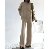 Womens Pants Suits Cashmere Thicken Knitted Sweater+ Winter 2 Pcs Sets Loose