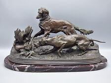 Pierre Jules Mene Deux chiens en arrêt devant une perdrix Bronze Sculpture Dogs