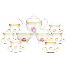 17 Pcs Gold Floral Design Tea Set, Service For 6 Persons