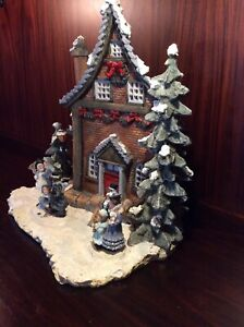 Model House Snow With People Trees! Good for model train ceramic/porcelain