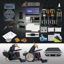 Professional Luo Tattoo Machine Kit 2 Gun 8 Inks Hurricane Power Supply Set