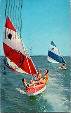 New ListingVintage C. 1972 Wind Surfing Sailing Swimming Ocean New Jersey Shore Nj Postcard