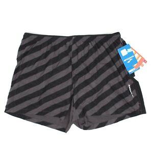 "NWT Brooks Sherpa IV Mens Running Shorts XL Black Gray Stripe Lined 5"""