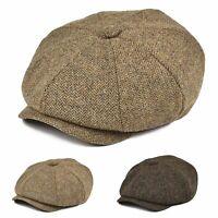 BOTVELA Bonnet de journal en laine 100% laine Motif à chevrons rétro Gatsby