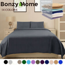 Deep Pocket Bed Sheet Set Soft Deluxe Hotel 6 Piece King Size Fitted 4 Pillows