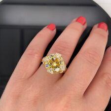 Judith Ripka 18k Yellow Gold Diamond & Canary Crystal Ring $4000 Retail