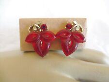 Vintage RARE Lisner Red Jelly Lucite Leaf & Rhinestone Earrings