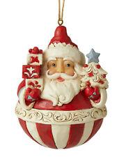 Enesco Jim Shore Heartwood Creek Nordic Noel Round Santa Ornament Nib 6006628