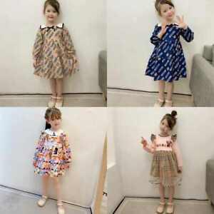 Girls Plaid skirt Autumn Fashion Dress Sun Dress Kids Casual Long sleeve Dress