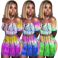 US Summer Beach Women's Evening Party Dress Short Skirt Sexy Crop Top Two Piece