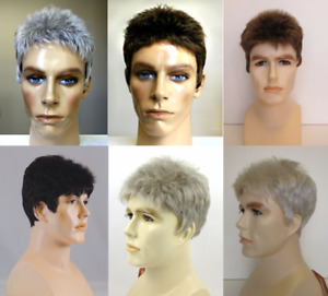 MENS MALE STRAIGHT SPIKY SHORT HAIR WIG W/ TAPERED BACK DANNY HANDSOME DUDE