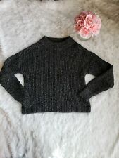 Banana Republic Womens Gray/Black Meatllic Mock Neck Italian Wool Sweater Sz L