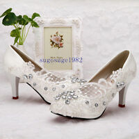 2019 Lace white crystal Wedding shoes Bride flats low high heel wedge size 5-10