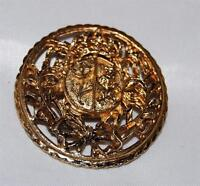 Vintage Coro Standing Lion & Flower Gold Tone Crest Round Pin with Crown & Vines