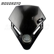 Motorcycle Street Fighter 12V 0.5W LED Mini Headlight Head Lamp Fairing Black