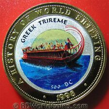1998 SOMALIA 250 SHILLINGS MULTICOLORED GREEK TRIREME TRI-METALLIC HISTORIC SHIP