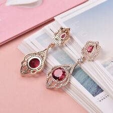 Women Promise Quality Red Garnet Crystal Statament Gold Dangle Earrings Jewelry