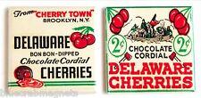 Delaware Chocolate Cherries FRIDGE MAGNET Set (2 x 2 inches each) cordial cherry