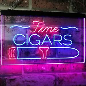 Fine Cigars Shop Smoking Room Man Cave Bar Dual Color Led Neon Sign st6-i2510