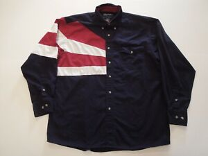 Wrangler Western Mens Large Patriotic Flag Button Down Shirt