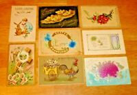 Vintage Lot (8) Early 1900's Embossed Easter Post Cards - Antique Postcards