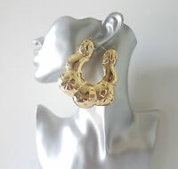 Gorgeous huge gold tone patterned puffed up style creole hoop earrings - * NEW *