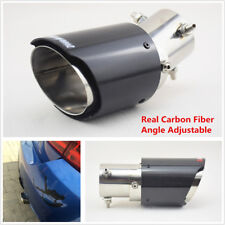 Universal 63-89mm Angle Adjustable Real Carbon Fiber Car Exhaust Pipe Modified