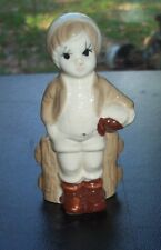 CUTE COUNTRY BOY FIGURINE LEANING ON A FENCE MULTI COLOR