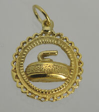 Curling sport pendant charm 24K Gold Plated over 925 sterling silver Jewelry