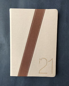 2021 Diary A4 Week To Page PU Two Tones  A4 Week to Opening Diary-Beige&Brown