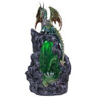 Green Dragon Backflow Incense Burner with LED Light Figurine Decoration New