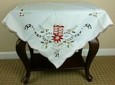 "Embroidered Christmas Red Candle Embroidery Tablecloth Fabric Topper 36"" Square"