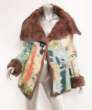 CHRISTIAN LACROIX Patchwork HAND PAINTED Plum Rabbit Fur Lined Coat Jacket 10-42
